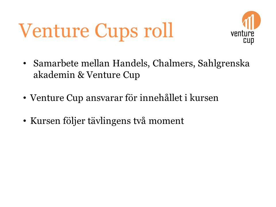 Venture Cups roll Samarbete mellan Handels, Chalmers, Sahlgrenska akademin & Venture Cup Venture Cup ansvarar för innehållet i kursen Kursen följer tä