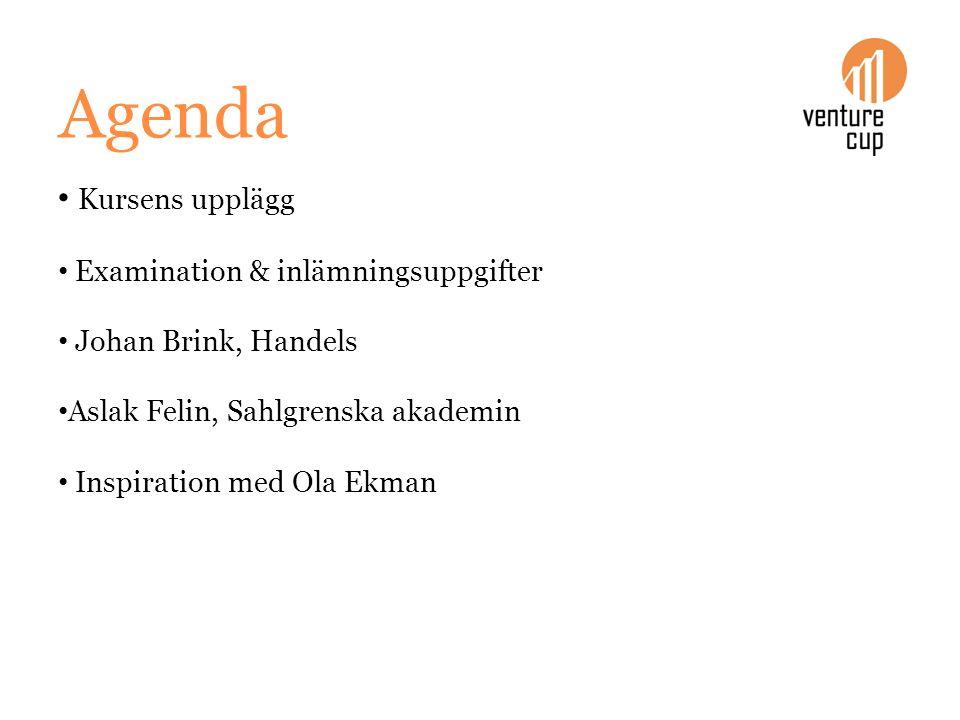 Agenda Kursens upplägg Examination & inlämningsuppgifter Johan Brink, Handels Aslak Felin, Sahlgrenska akademin Inspiration med Ola Ekman