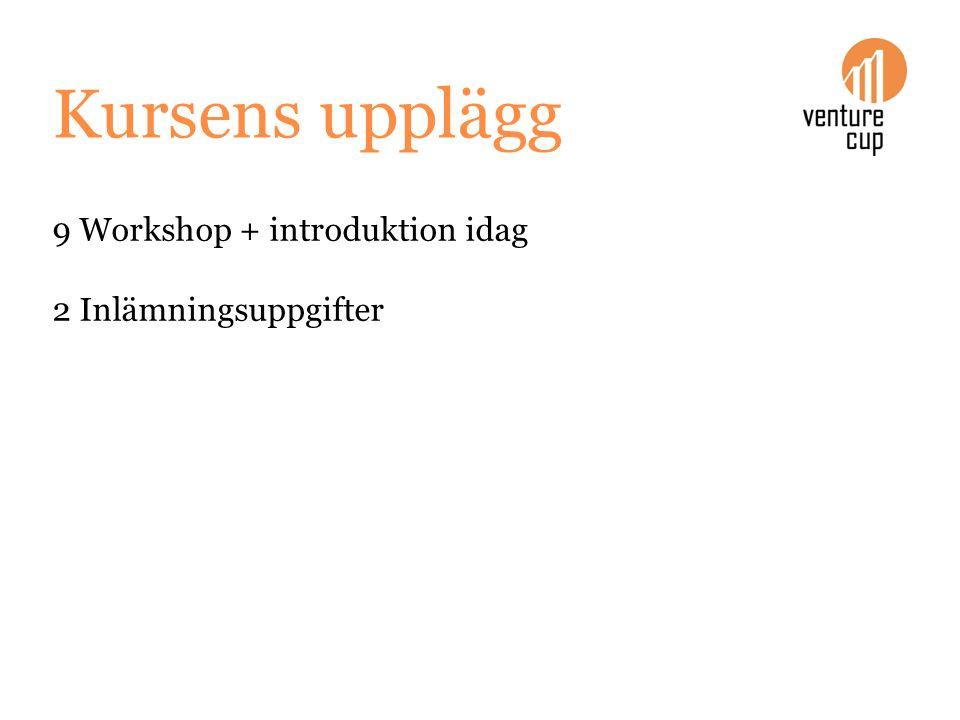 Kursens upplägg 9 Workshop + introduktion idag 2 Inlämningsuppgifter