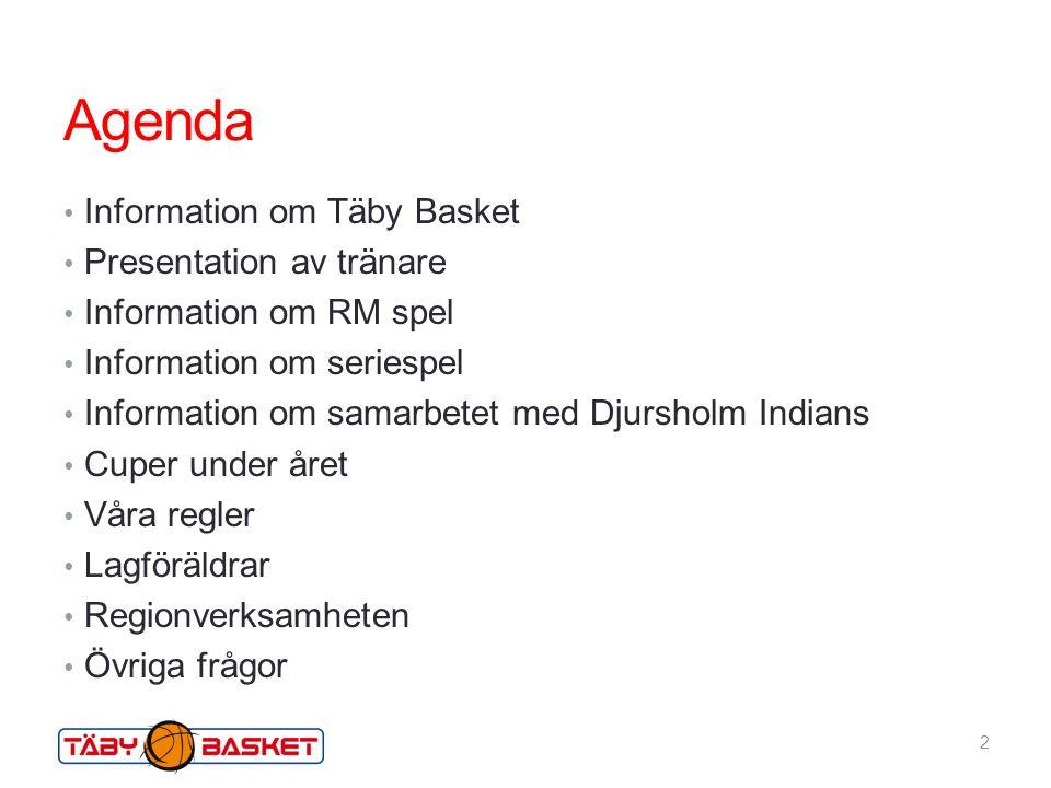 Agenda Information om Täby Basket Presentation av tränare Information om RM spel Information om seriespel Information om samarbetet med Djursholm Indians Cuper under året Våra regler Lagföräldrar Regionverksamheten Övriga frågor 2