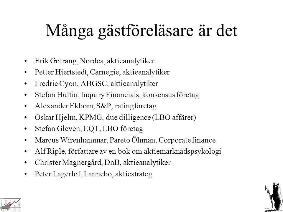 Många gästföreläsare är det Erik Golrang, Nordea, aktieanalytiker Petter Hjertstedt, Carnegie, aktieanalytiker Fredric Cyon, ABGSC, aktieanalytiker St