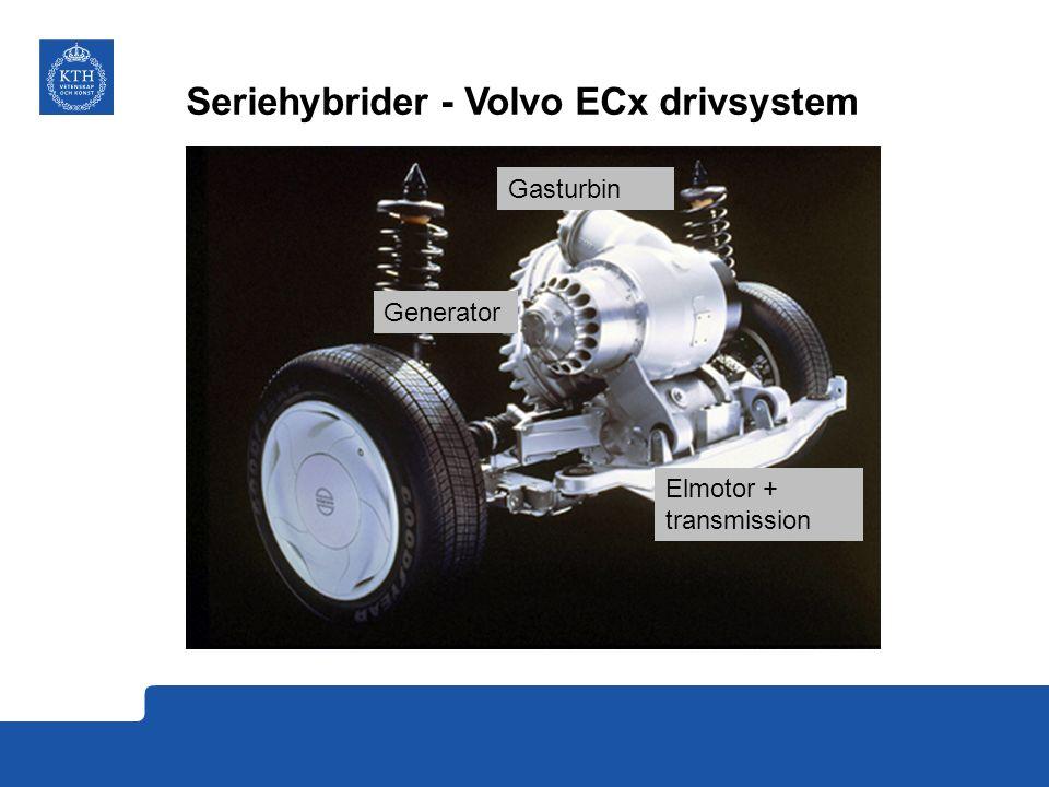 Seriehybrider - Volvo ECx drivsystem Gasturbin Elmotor + transmission Generator