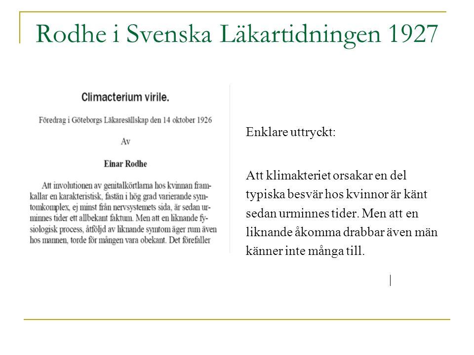 Rodhe i Svenska Läkartidningen 1927 Enklare uttryckt: Att klimakteriet orsakar en del typiska besvär hos kvinnor är känt sedan urminnes tider.
