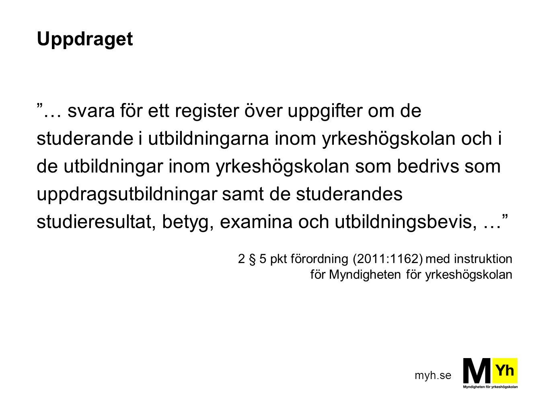 """myh.se Uppdraget """"… svara för ett register över uppgifter om de studerande i utbildningarna inom yrkeshögskolan och i de utbildningar inom yrkeshögsko"""