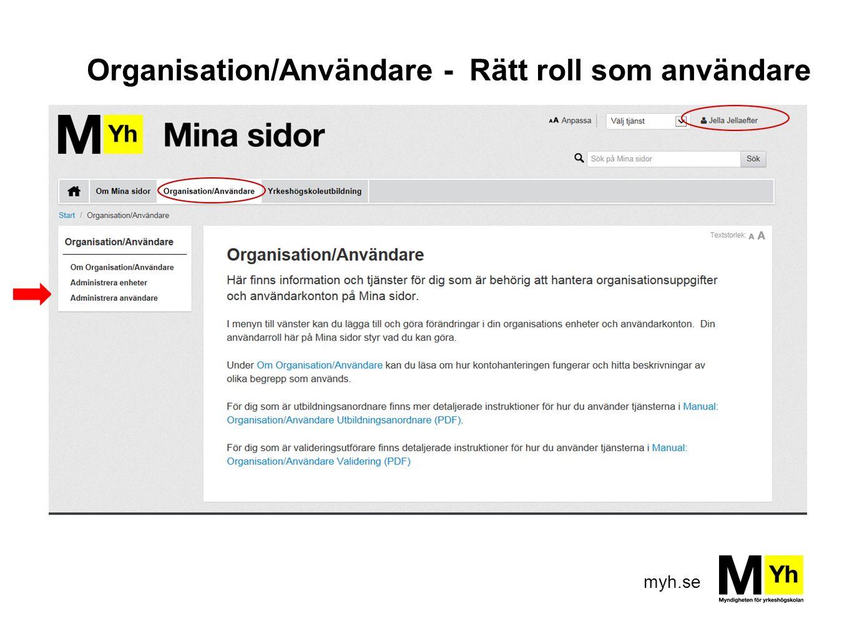 myh.se Organisation/Användare - Rätt roll som användare