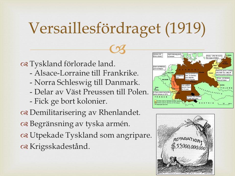  Tyskland blir republik Versaillesfördraget hård mot Tyskland Nationernas förbund Österrike-Ungern försvann från kartan Polen, Finland och Baltiska länder blev självständiga Sovjetunionens bildande Jugoslavien Utveckling av teknologin Många miljoner döda Konsekvenser