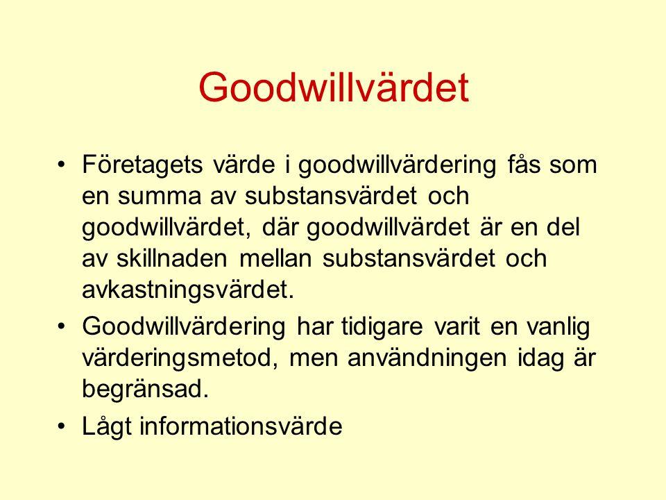 Goodwillvärdet Företagets värde i goodwillvärdering fås som en summa av substansvärdet och goodwillvärdet, där goodwillvärdet är en del av skillnaden mellan substansvärdet och avkastningsvärdet.