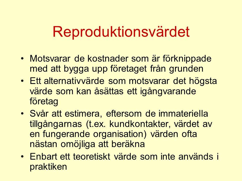 Reproduktionsvärdet Motsvarar de kostnader som är förknippade med att bygga upp företaget från grunden Ett alternativvärde som motsvarar det högsta värde som kan åsättas ett igångvarande företag Svår att estimera, eftersom de immateriella tillgångarnas (t.ex.