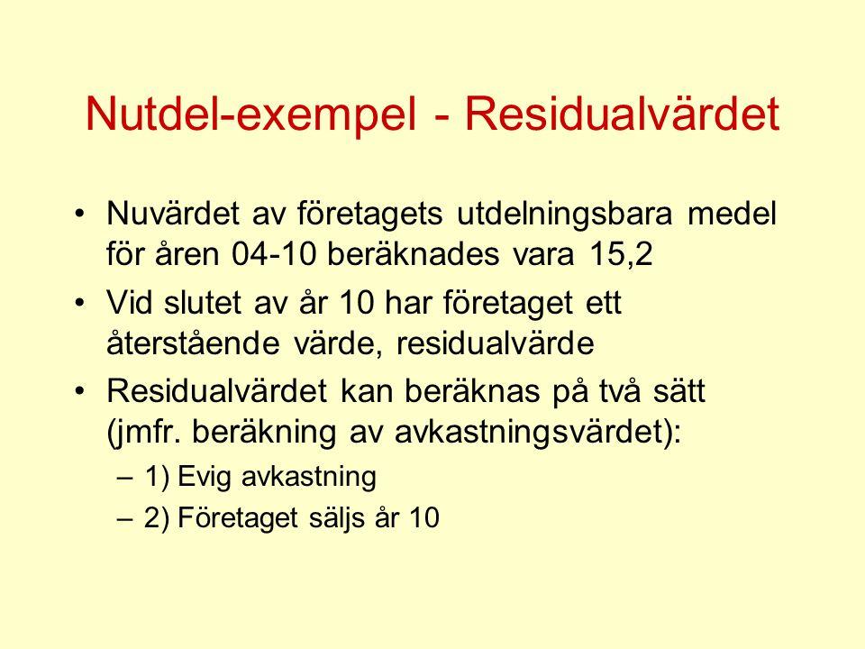 Nutdel-exempel - Residualvärdet Nuvärdet av företagets utdelningsbara medel för åren 04-10 beräknades vara 15,2 Vid slutet av år 10 har företaget ett återstående värde, residualvärde Residualvärdet kan beräknas på två sätt (jmfr.