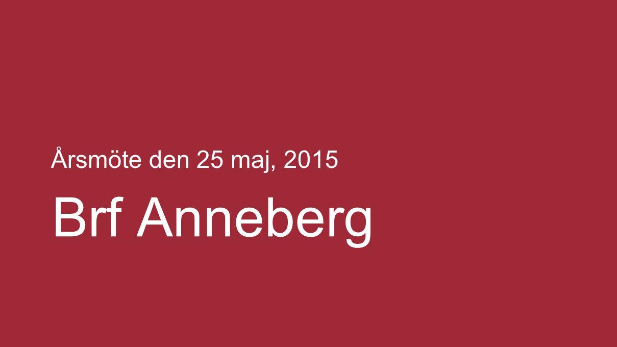 Årsmöte den 25 maj, 2015 Brf Anneberg