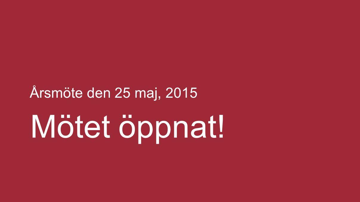 Brf Anneberg Dagordning 25 maj, 2015 1.Stämmans öppnande 2.