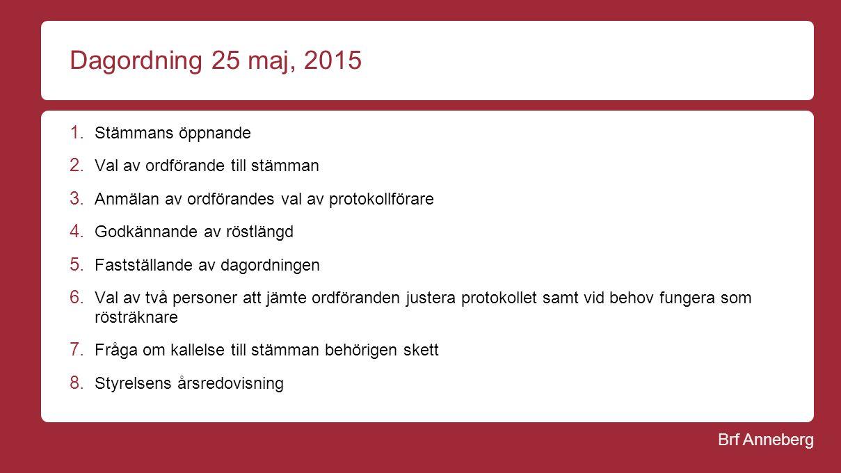 Brf Anneberg Dagordning 25 maj, 2015 1. Stämmans öppnande 2.