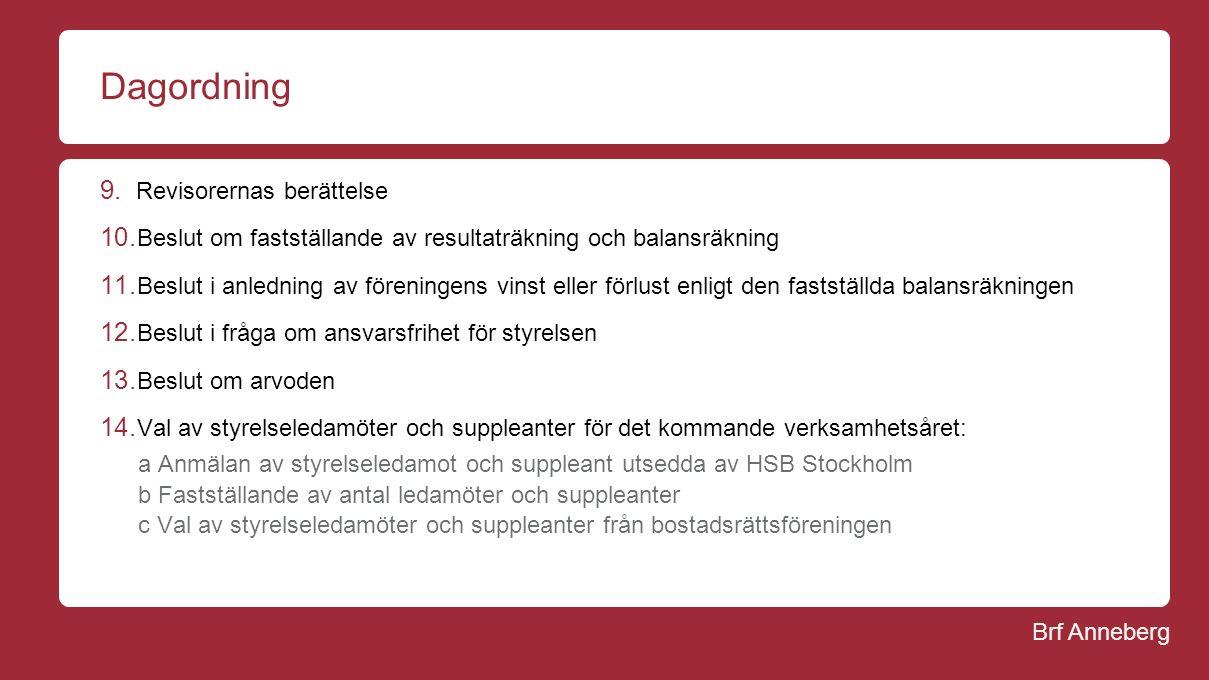 Brf Anneberg Dagordning 9. Revisorernas berättelse 10.