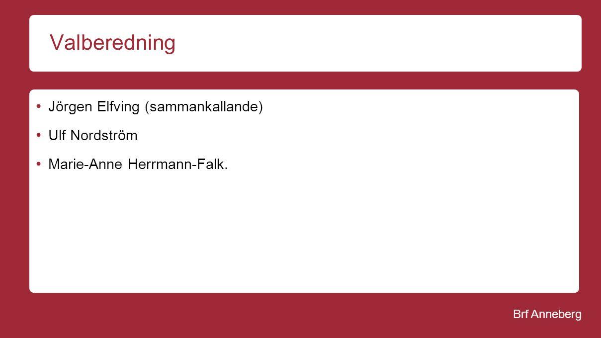 Brf Anneberg Valberedning Jörgen Elfving (sammankallande) Ulf Nordström Marie-Anne Herrmann-Falk.