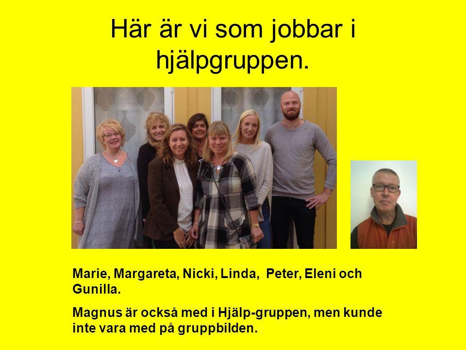 Här är vi som jobbar i hjälpgruppen. Marie, Margareta, Nicki, Linda, Peter, Eleni och Gunilla. Magnus är också med i Hjälp-gruppen, men kunde inte var