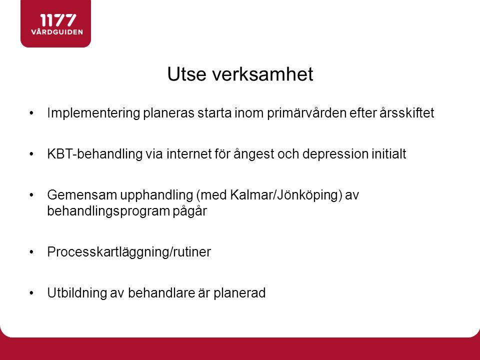 Implementering planeras starta inom primärvården efter årsskiftet KBT-behandling via internet för ångest och depression initialt Gemensam upphandling (med Kalmar/Jönköping) av behandlingsprogram pågår Processkartläggning/rutiner Utbildning av behandlare är planerad Utse verksamhet
