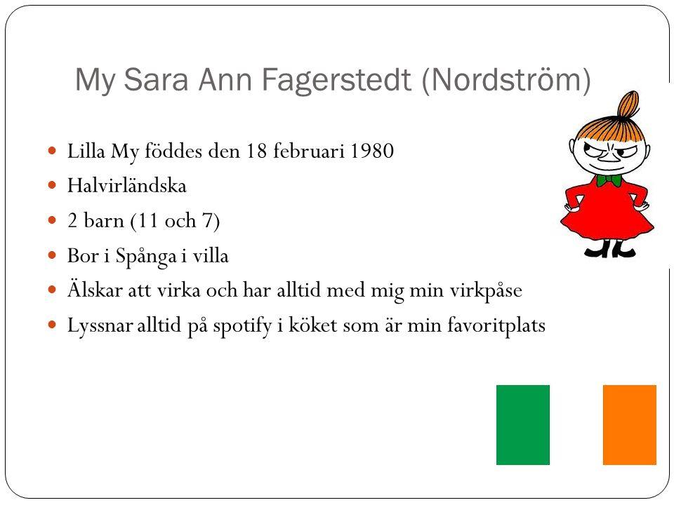 My Sara Ann Fagerstedt (Nordström) Lilla My föddes den 18 februari 1980 Halvirländska 2 barn (11 och 7) Bor i Spånga i villa Älskar att virka och har alltid med mig min virkpåse Lyssnar alltid på spotify i köket som är min favoritplats