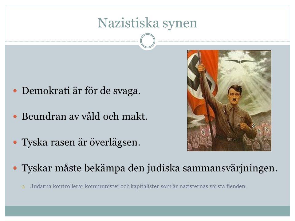 Nazistiska synen Demokrati är för de svaga. Beundran av våld och makt. Tyska rasen är överlägsen. Tyskar måste bekämpa den judiska sammansvärjningen.