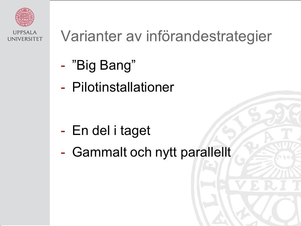Varianter av införandestrategier - Big Bang -Pilotinstallationer -En del i taget -Gammalt och nytt parallellt