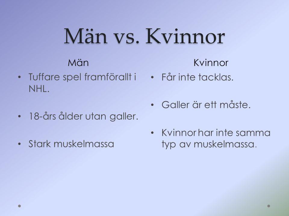Män vs. Kvinnor MänKvinnor Tuffare spel framförallt i NHL. 18-års ålder utan galler. Stark muskelmassa Får inte tacklas. Galler är ett måste. Kvinnor