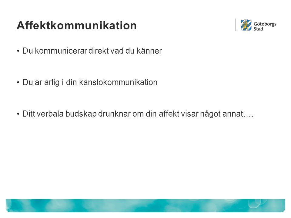 Affektkommunikation Du kommunicerar direkt vad du känner Du är ärlig i din känslokommunikation Ditt verbala budskap drunknar om din affekt visar något