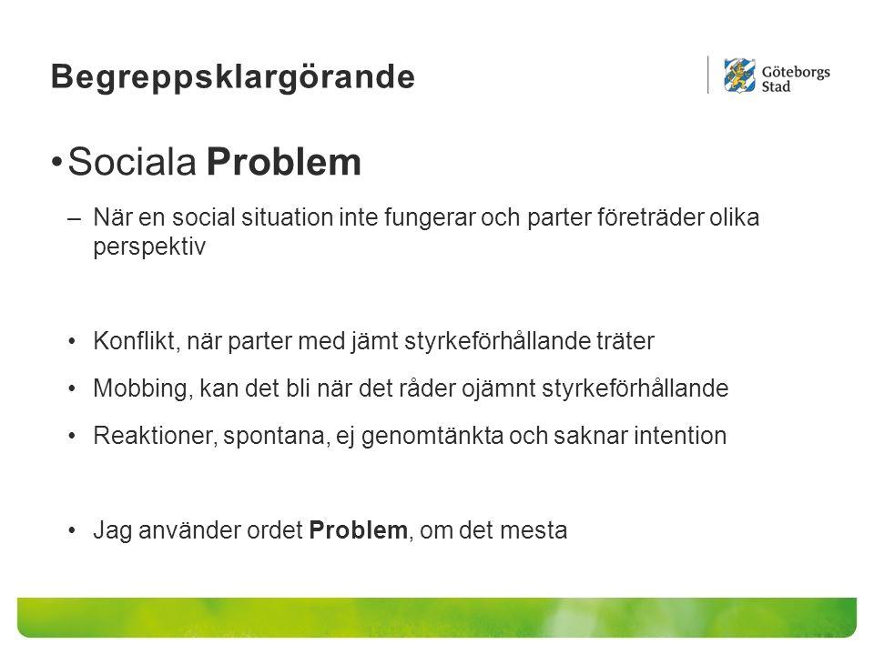 Begreppsklargörande Sociala Problem –När en social situation inte fungerar och parter företräder olika perspektiv Konflikt, när parter med jämt styrke