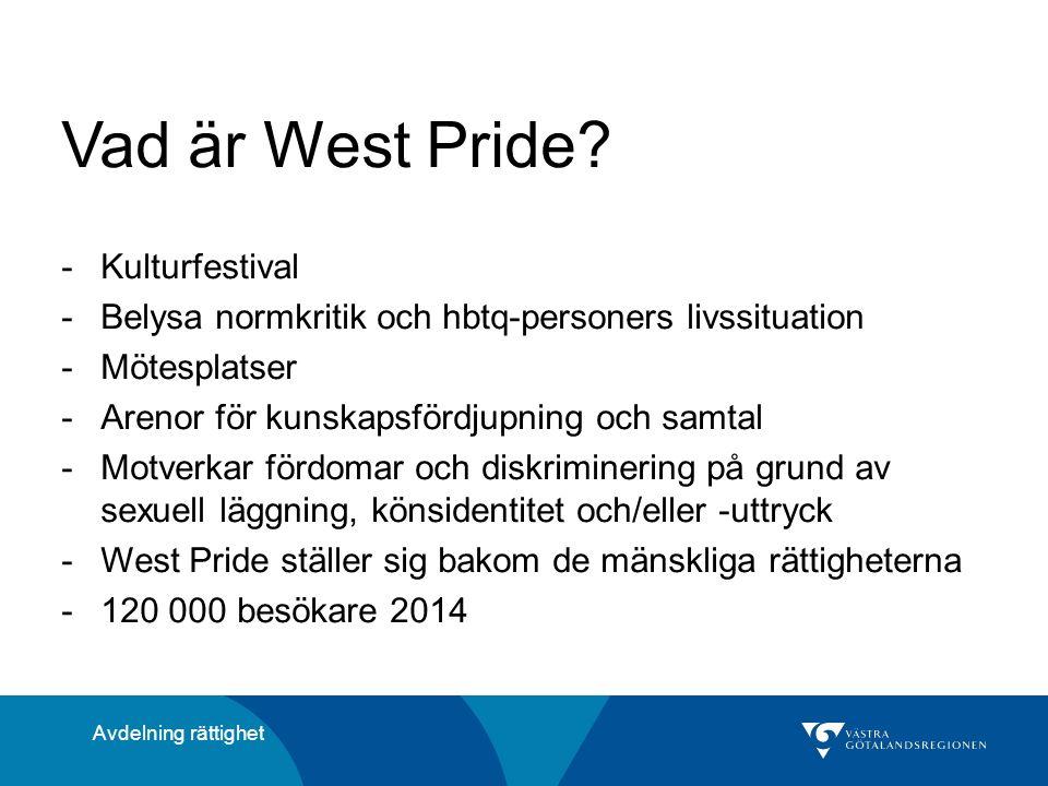 Vad är West Pride? -Kulturfestival -Belysa normkritik och hbtq-personers livssituation -Mötesplatser -Arenor för kunskapsfördjupning och samtal -Motve