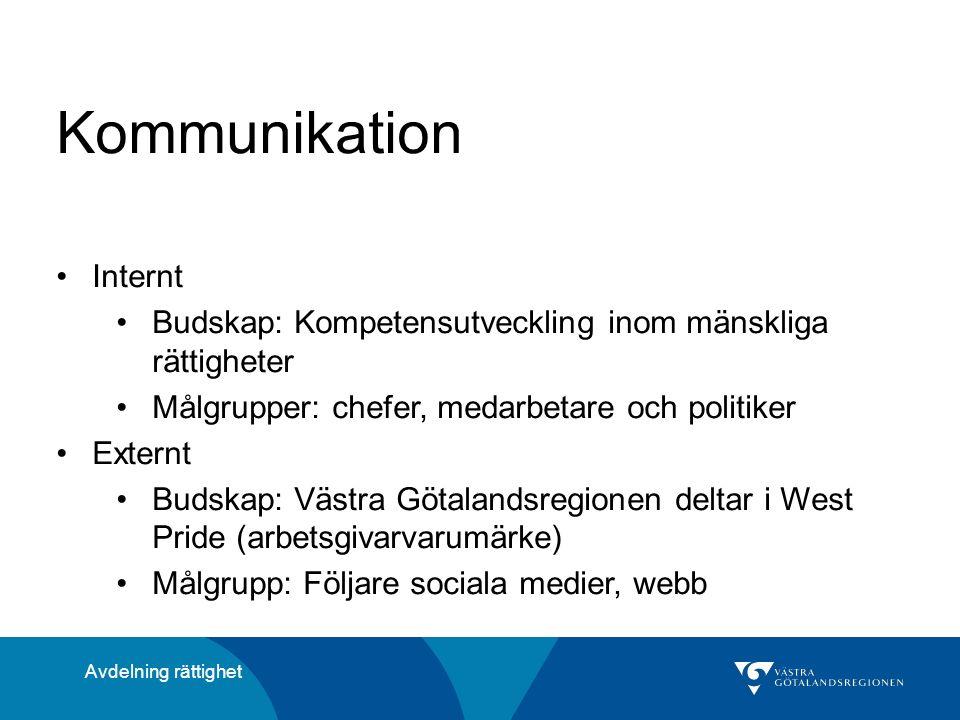 Kommunikation Internt Budskap: Kompetensutveckling inom mänskliga rättigheter Målgrupper: chefer, medarbetare och politiker Externt Budskap: Västra Götalandsregionen deltar i West Pride (arbetsgivarvarumärke) Målgrupp: Följare sociala medier, webb Avdelning rättighet