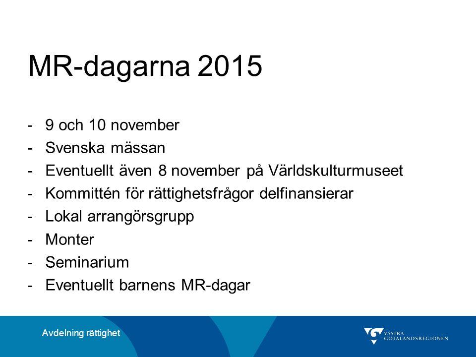 MR-dagarna 2015 -9 och 10 november -Svenska mässan -Eventuellt även 8 november på Världskulturmuseet -Kommittén för rättighetsfrågor delfinansierar -Lokal arrangörsgrupp -Monter -Seminarium -Eventuellt barnens MR-dagar Avdelning rättighet