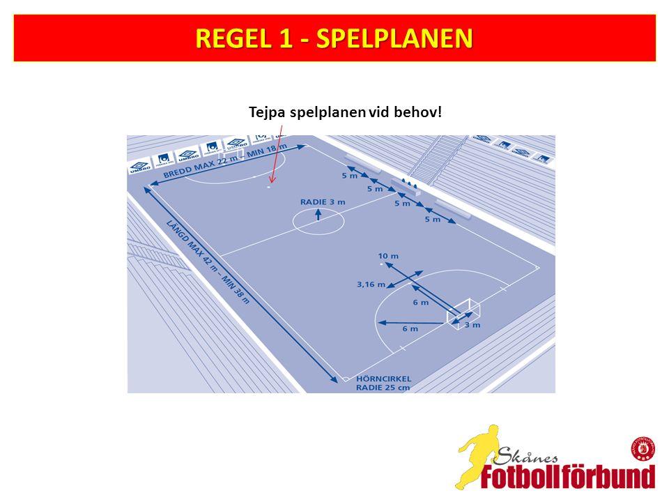 REGEL 17 – HÖRNSPARK -Mål får göras direkt på hörnspark, men bara i motståndarnas mål -Bollen får ej spelas en andra gång av samma spelare -Spelare i försvarande laget måste vara minst fem (5) meter från bollen -Om en hörnspark inte utförs inom 4 sekunder efter att spelaren som ska utföra den fått bollen tilldöms motståndarlaget en indirekt frispark i hörncirkeln