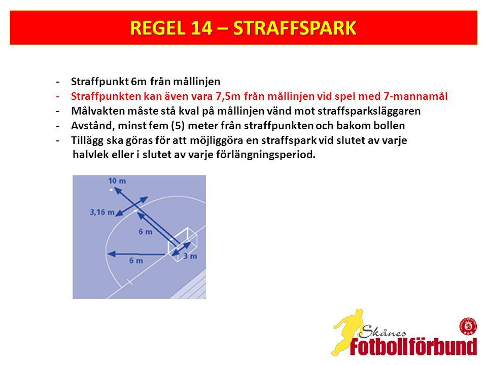 REGEL 14 – STRAFFSPARK -Straffpunkt 6m från mållinjen -Straffpunkten kan även vara 7,5m från mållinjen vid spel med 7-mannamål -Målvakten måste stå kval på mållinjen vänd mot straffsparksläggaren -Avstånd, minst fem (5) meter från straffpunkten och bakom bollen -Tillägg ska göras för att möjliggöra en straffspark vid slutet av varje halvlek eller i slutet av varje förlängningsperiod.