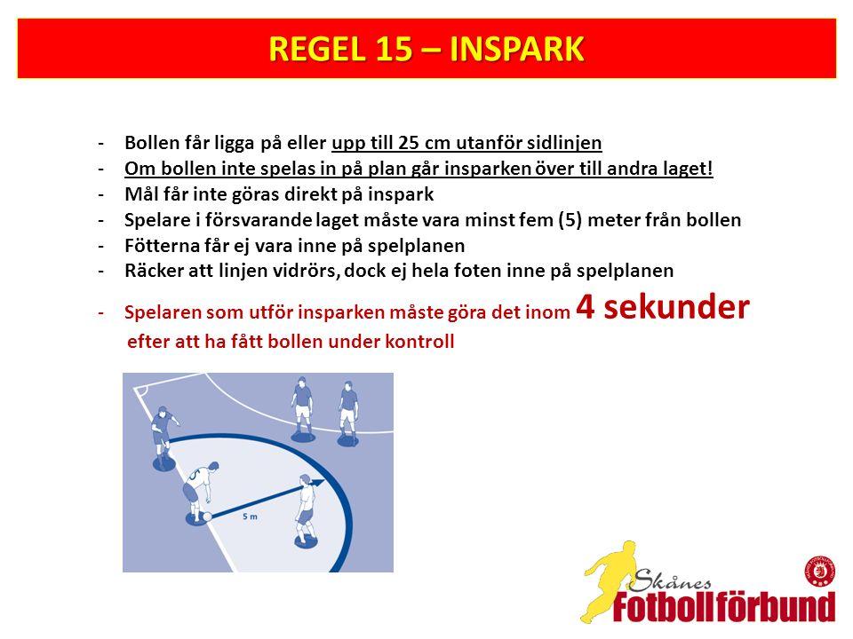 REGEL 15 – INSPARK -Bollen får ligga på eller upp till 25 cm utanför sidlinjen -Om bollen inte spelas in på plan går insparken över till andra laget!