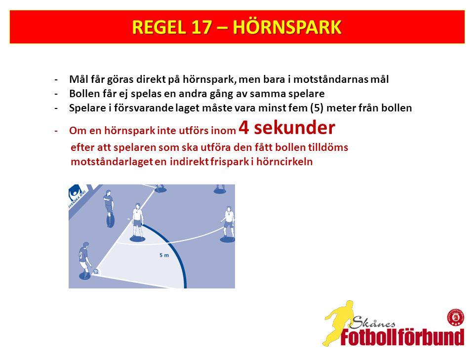 REGEL 17 – HÖRNSPARK -Mål får göras direkt på hörnspark, men bara i motståndarnas mål -Bollen får ej spelas en andra gång av samma spelare -Spelare i
