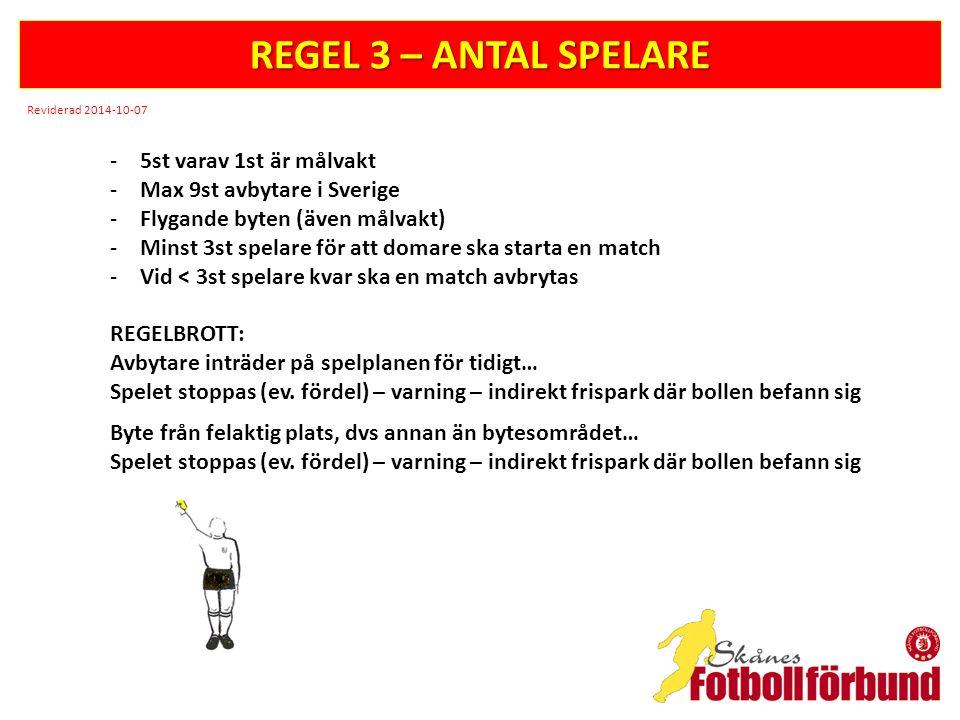 REGEL 3 – ANTAL SPELARE -5st varav 1st är målvakt -Max 9st avbytare i Sverige -Flygande byten (även målvakt) -Minst 3st spelare för att domare ska starta en match -Vid < 3st spelare kvar ska en match avbrytas REGELBROTT: Avbytare inträder på spelplanen för tidigt… Spelet stoppas (ev.