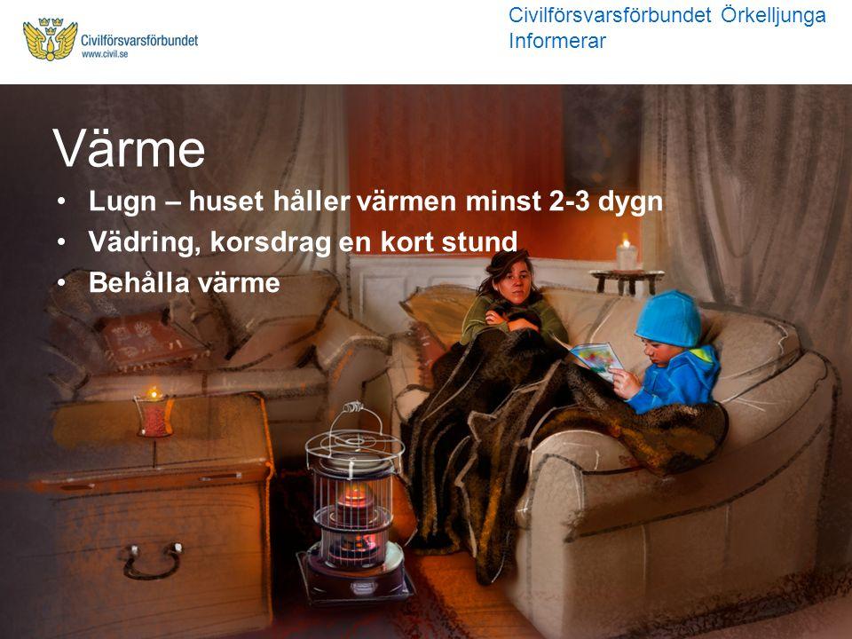 Lugn – huset håller värmen minst 2-3 dygn Vädring, korsdrag en kort stund Behålla värme Värme Civilförsvarsförbundet Örkelljunga Informerar