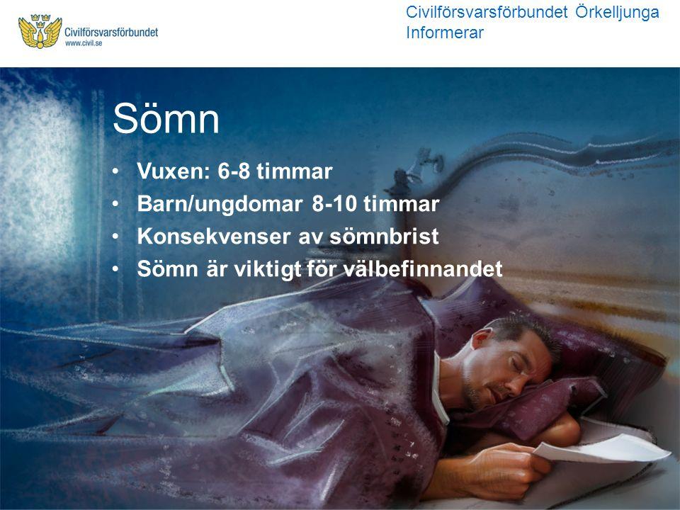 Vuxen: 6-8 timmar Barn/ungdomar 8-10 timmar Konsekvenser av sömnbrist Sömn är viktigt för välbefinnandet Sömn Civilförsvarsförbundet Örkelljunga Infor