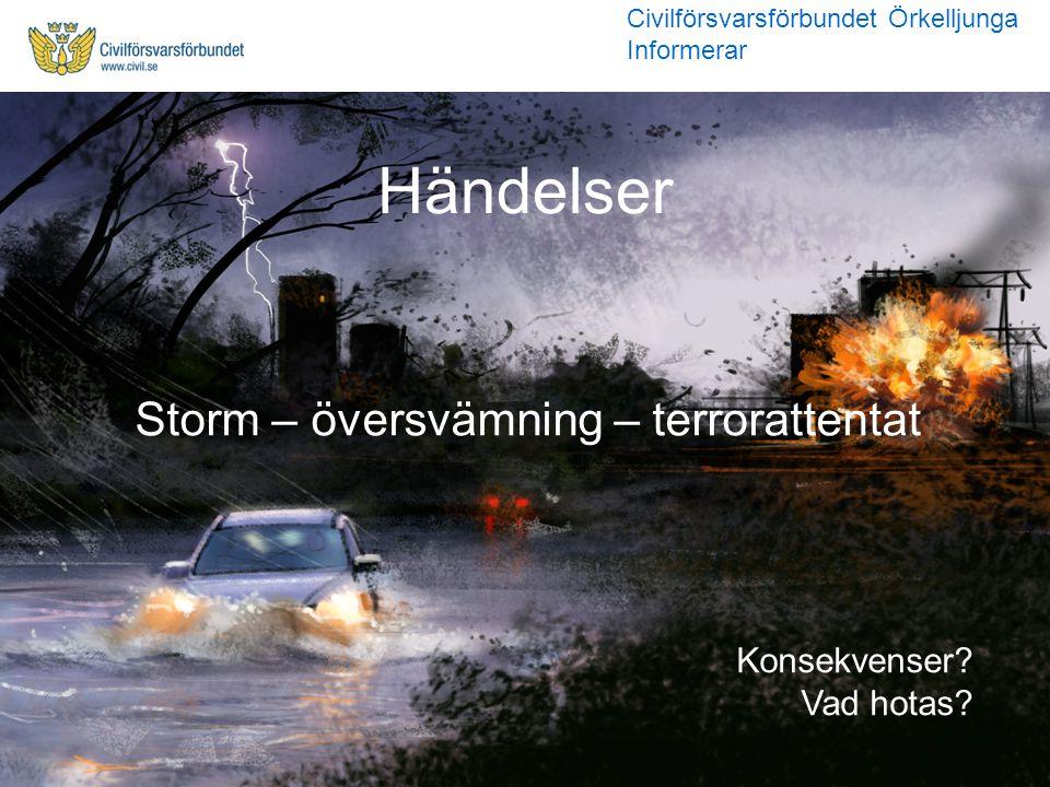 Storm – översvämning – terrorattentat Händelser Konsekvenser? Vad hotas? Civilförsvarsförbundet Örkelljunga Informerar