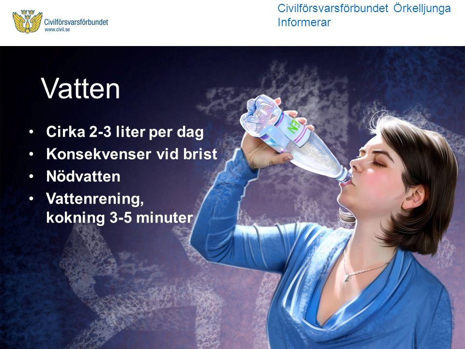 Cirka 2-3 liter per dag Konsekvenser vid brist Nödvatten Vattenrening, kokning 3-5 minuter Vatten Civilförsvarsförbundet Örkelljunga Informerar