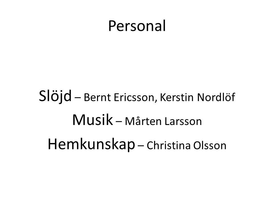 Personal Slöjd – Bernt Ericsson, Kerstin Nordlöf Musik – Mårten Larsson Hemkunskap – Christina Olsson