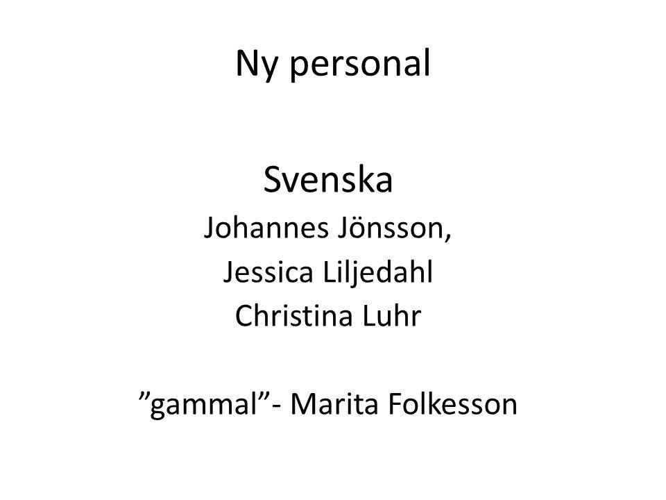 "Ny personal Svenska Johannes Jönsson, Jessica Liljedahl Christina Luhr ""gammal""- Marita Folkesson"