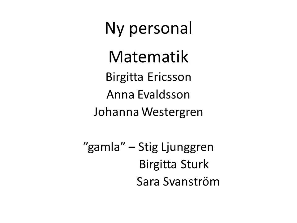 """Ny personal Matematik Birgitta Ericsson Anna Evaldsson Johanna Westergren """"gamla"""" – Stig Ljunggren Birgitta Sturk Sara Svanström"""
