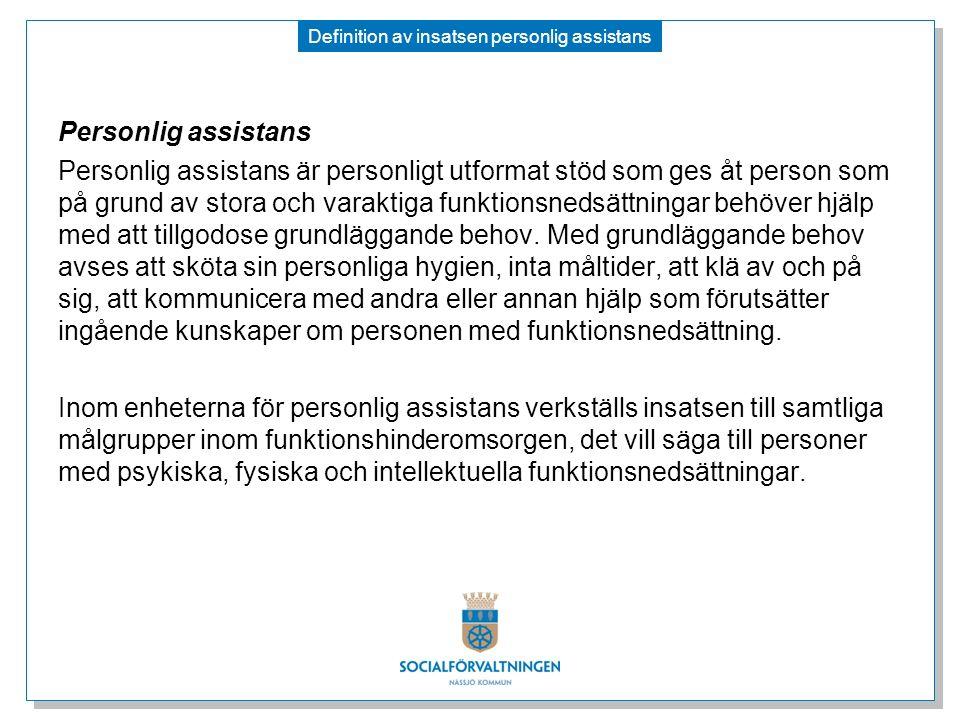 Definition av insatsen personlig assistans Personlig assistans Personlig assistans är personligt utformat stöd som ges åt person som på grund av stora