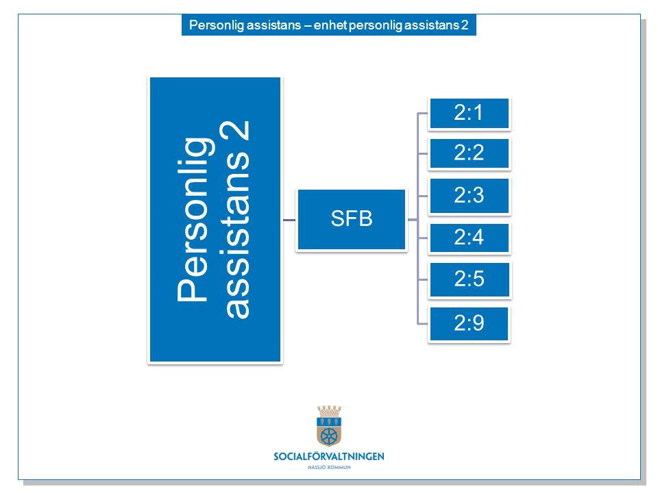 Personlig assistans – enhet personlig assistans 2 Personlig assistans 2 SFB 2:1 2:2 2:3 2:4 2:5 2:9