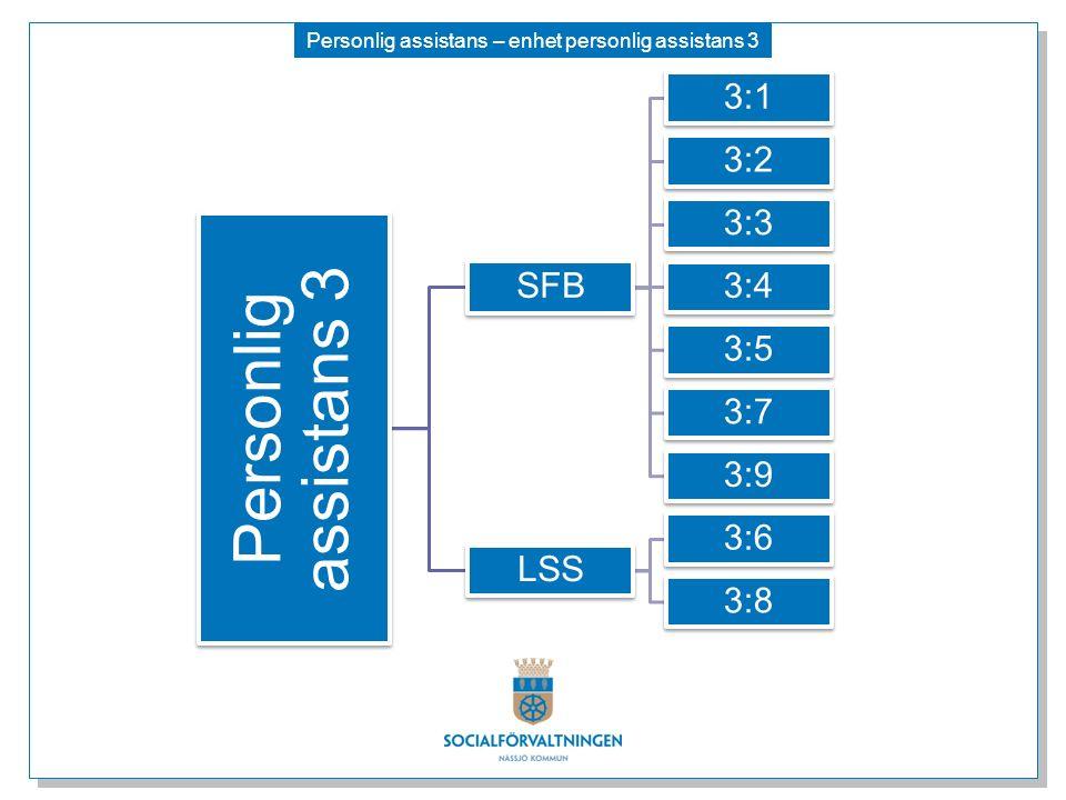 Personlig assistans – enhet personlig assistans 3 Personlig assistans 3 SFB 3:1 3:2 3:3 3:4 3:5 3:7 3:9 LSS 3:6 3:8