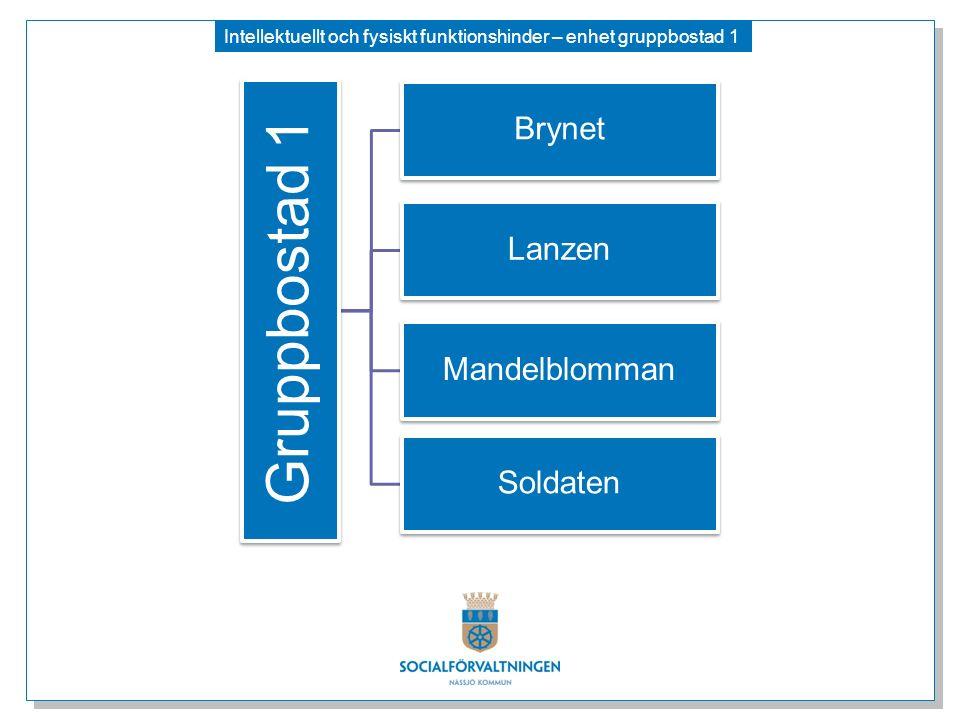 Intellektuellt och fysiskt funktionshinder – enhet gruppbostad 1 Gruppbostad 1 Brynet Lanzen Mandelblomman Soldaten