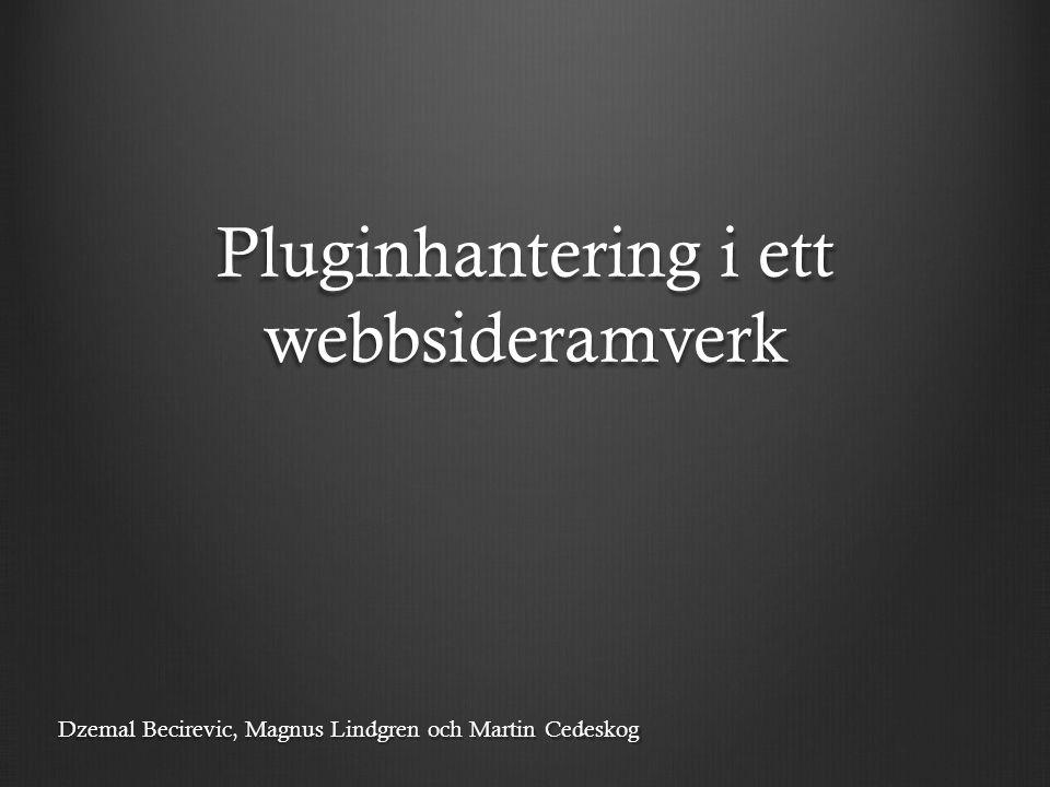 Pluginhantering i ett webbsideramverk Dzemal Becirevic, Magnus Lindgren och Martin Cedeskog