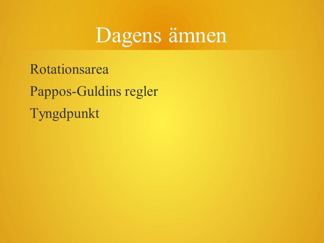 Dagens ämnen Rotationsarea Pappos-Guldins regler Tyngdpunkt