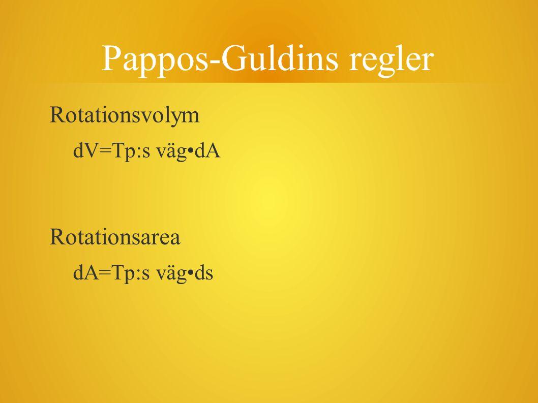 Pappos-Guldins regler Rotationsvolym dV=Tp:s vägdA Rotationsarea dA=Tp:s vägds