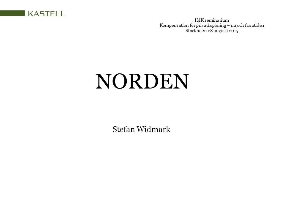 NORDEN IMK seminarium Kompensation för privatkopiering – nu och framtiden Stockholm 28 augusti 2015 Stefan Widmark