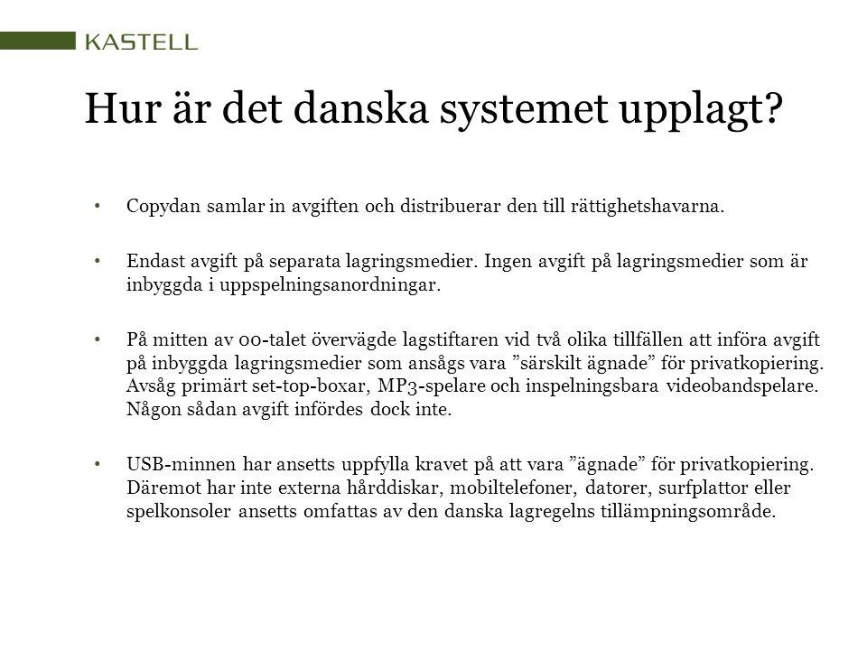 Hur är det danska systemet upplagt? Copydan samlar in avgiften och distribuerar den till rättighetshavarna. Endast avgift på separata lagringsmedier.